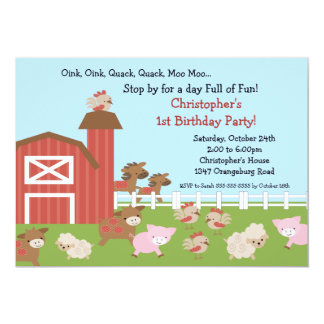 Barn Animal Fun Birthday Party 13 Cm X 18 Cm Invitation Card