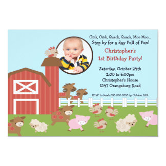 Barn Animal Fun Photo Birthday Invitation