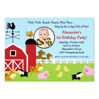 Barn Animal Fun Photo Birthday Party 13 Cm X 18 Cm Invitation Card
