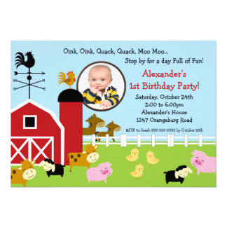 Barn Animal Fun Photo Birthday Party Announcement