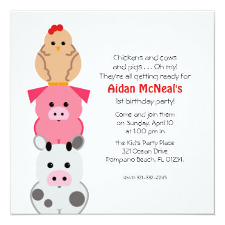 barn animals first BIRTHDAY PARTY invitation