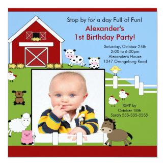 Barn Animals Fun1st Birthday Photo Invitation