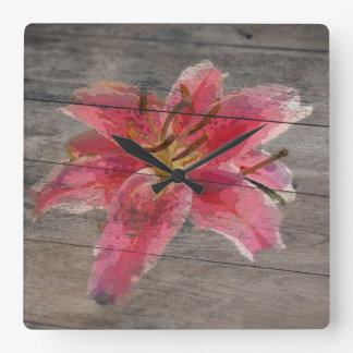 Barn Board Clock Painted Lily