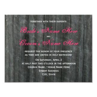 Barn Door and Hot Pink Roses Wedding Invitation