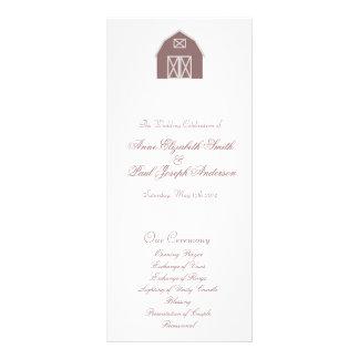 Barn elegant wedding program full color rack card