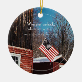 Barn Flag Patriotic Reminders All Around Christmas Ornament