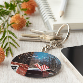 Barn Flag Patriotic Reminders All Around Key Ring