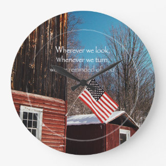 Barn Flag Patriotic Reminders All Around Large Clock
