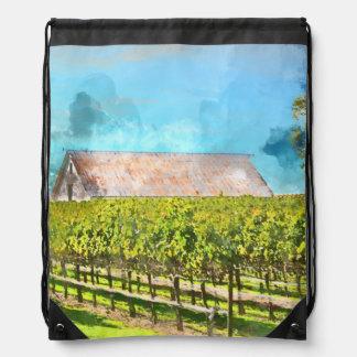 Barn in a Vineyard in Napa Valley California Drawstring Bag
