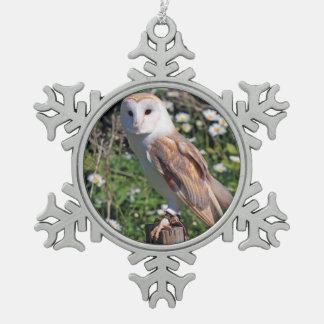 Barn Owl Snowflake Pewter Christmas Ornament