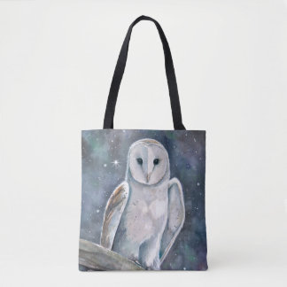 Barn Owl Watercolor Art Tote Bag