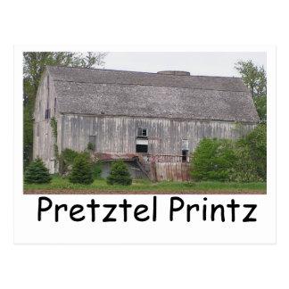 Barn, Pretztel Printz Postcard