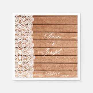 Barn Wood and Lace Napkins Disposable Napkin