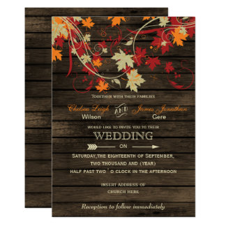 Barn Wood Rustic Fall Leaves Wedding invitations