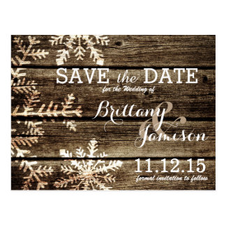 Barn Wood Snowflakes Rustic Winter Save the Date Postcard