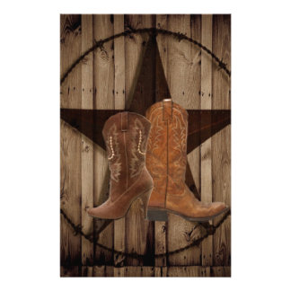 Barn Wood Texas Star western country cowboy boots Stationery