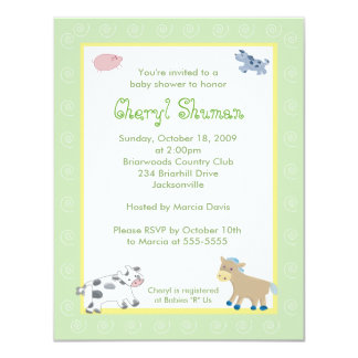 Barn Yard Farm Animals Green Swirl Baby Shower 11 Cm X 14 Cm Invitation Card