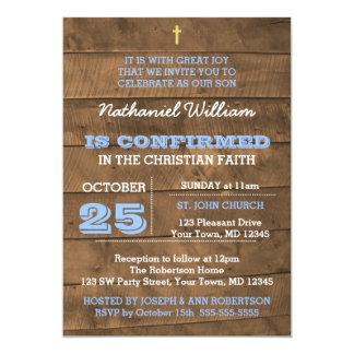Barnwood Blue Confirmation Invitation