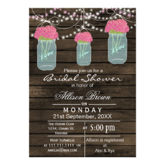 Barnwood  blue mason jar rustic bridal shower custom announcements