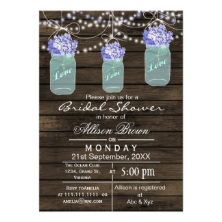 Barnwood blue mason jar rustic bridal shower announcements
