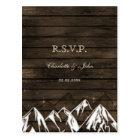 Barnwood Camping Rustic Mountains Wedding rsvp Postcard