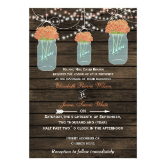 Barnwood, coral mason jar wedding invites