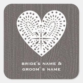 Barnwood Inspired Lace Heart Wedding Sticker