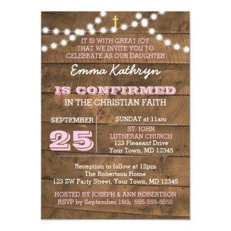 Barnwood Lights Pink Confirmation Invitation