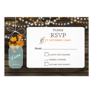 Barnwood mason jar fall wedding RSVP 3.5 x 5 Custom Invites