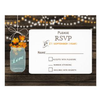 Barnwood mason jar fall wedding RSVP Personalized Invitation