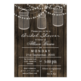 Barnwood mason jar rustic bridal shower personalized invitation
