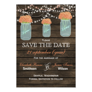Barnwood mason jars coral flowers save the date magnetic invitations