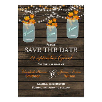 Barnwood mason jars maple fall save the date magnetic invitations