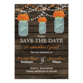 Barnwood mason jars orange flowers save the date cards