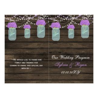 Barnwood mason jars,purple flowers programs folded 21.5 cm x 28 cm flyer