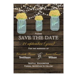 Barnwood mason jars yellow flowers save the date cards