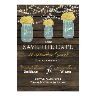 Barnwood mason jars yellow flowers save the date magnetic invitations