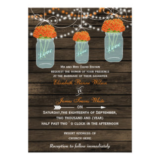 Barnwood, orange mason jar wedding invites