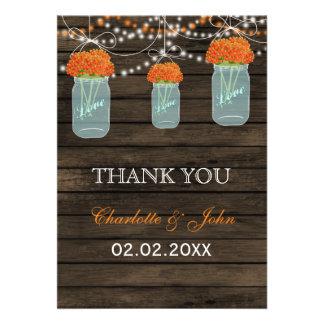 Barnwood orange mason jars Thank You Invites