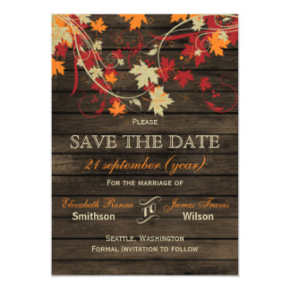 Barnwood Rustic ,fall leaves save the date Magnetic Invitations