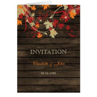 Barnwood, Rustic Fall leaves wedding invites Greeting Card
