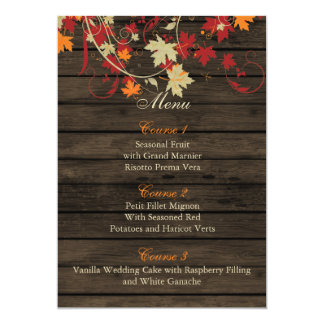 Barnwood Rustic ,fall leaves wedding menu cards 13 Cm X 18 Cm Invitation Card