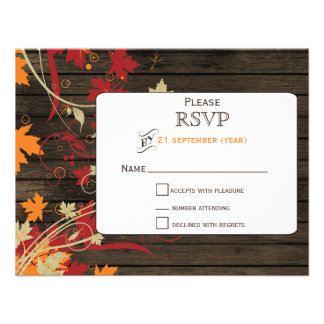 Barnwood Rustic ,fall leaves wedding RSVP Personalized Invite