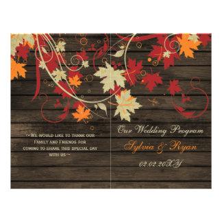 Barnwood Rustic ,fall wedding programs folded 21.5 Cm X 28 Cm Flyer