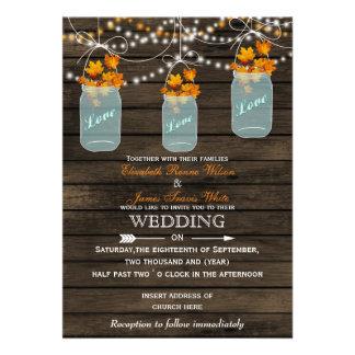 Barnwood Rustic mason jar Fall wedding invitation