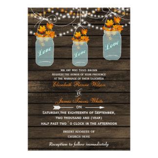 Barnwood Rustic mason jar fall wedding invites