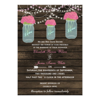 Barnwood, Rustic mason jar wedding invites