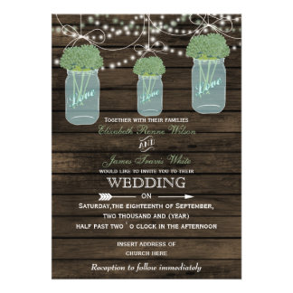 Barnwood, sage mason jar wedding invitations