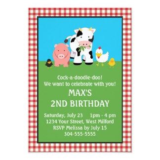 """Barnyard Animal Friends Birthday 5"""" X 7"""" Invitation Card"""