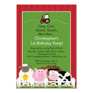 Barnyard Animal Fun Birthday Party Announcement